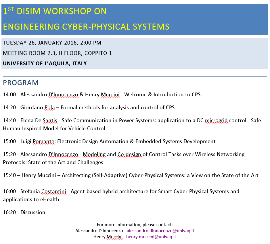 Disim Workshop On Engineering Cps Henry Muccinihenry Muccini